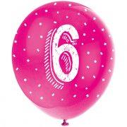 5 Ballons Multicolores Chiffre 6