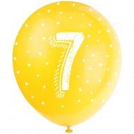 5 Ballons Multicolores Chiffre 7