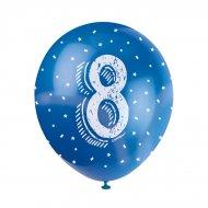 5 Ballons Multicolores Chiffre 8