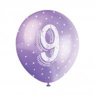 5 Ballons Multicolores Chiffre 9