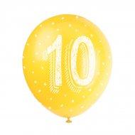 5 Ballons Multicolores Chiffre 10