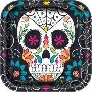 8 Assiettes Calavera Skull