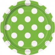 8 Petites Assiettes à pois Blanc/Vert