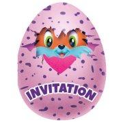 8 Invitations Oeufs Hatchimals