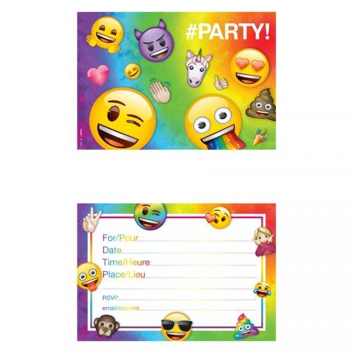 8 Invitations Emoji Rainbow