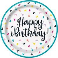 Contient : 1 x 8 Assiettes Happy Birthday Fantaisie Pop