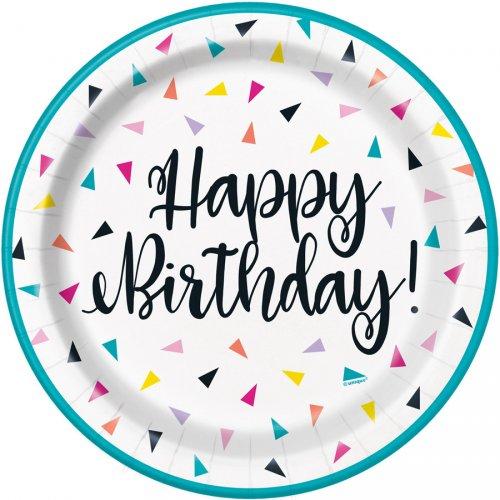 8 Assiettes Happy Birthday Fantaisie Pop