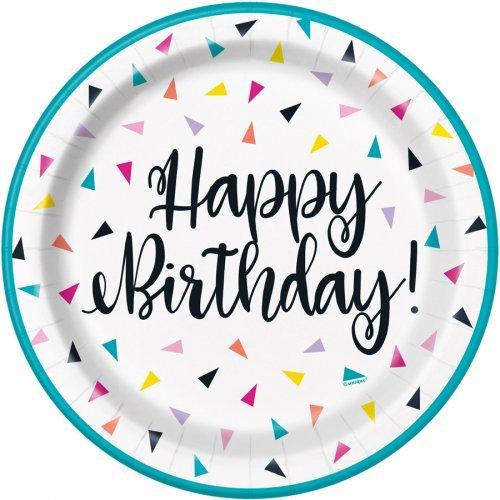 8 Petites Assiettes Happy Birthday Fantaisie Pop