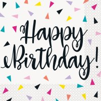 Contient : 1 x 16 Serviettes Happy Birthday Fantaisie Pop