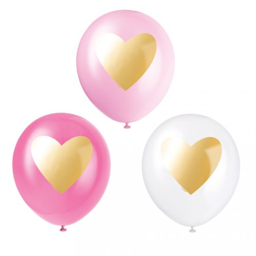 6 Ballons Coeur Or - Rose/Blanc