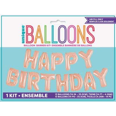 Guirlande Ballons Happy Birthday (4,26 m) - Rose Gold