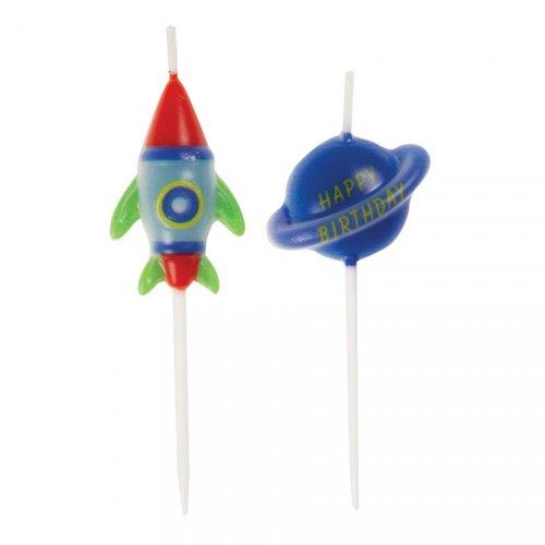 6 Mini Bougies Fusée et Planète - Cosmos Party