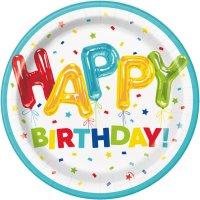 Contient : 1 x 8 Assiettes Happy Birthday Fantaisie