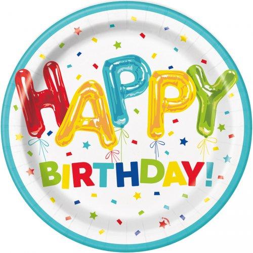 8 Assiettes Happy Birthday Fantaisie