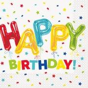 16 Serviettes Happy Birthday Fantaisie
