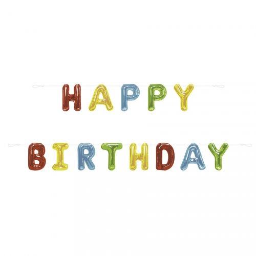 Guirlande Ballons Happy Birthday Fantaisie (2,74 m) - Carton