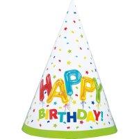 Contient : 1 x 8 Chapeaux Happy Birthday Fantaisie