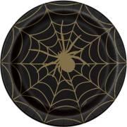 8 Assiettes Toile d'Araignée - Noir et Or