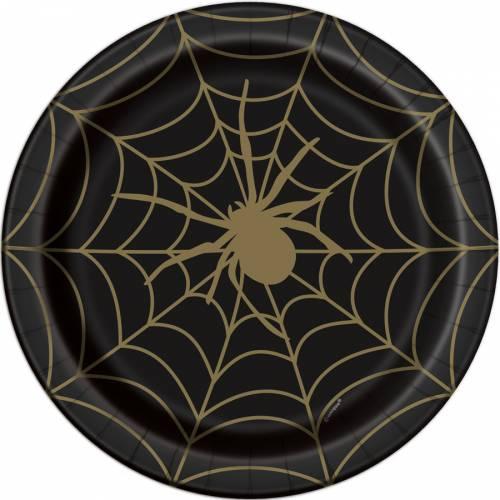 8 Assiettes Toile d Araignée - Noir et Or