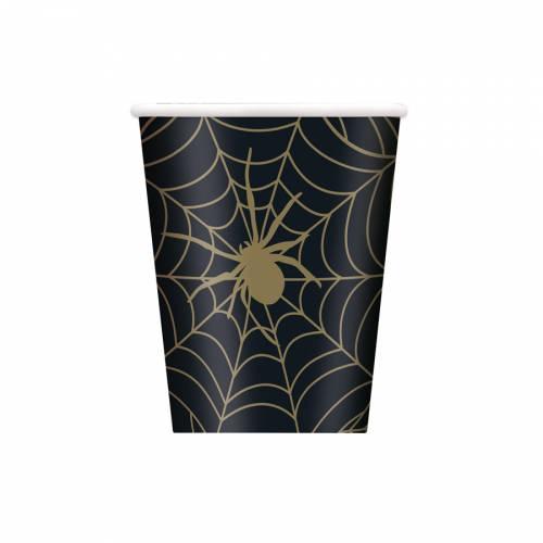 8 Gobelets Toile d Araignée - Noir et Or