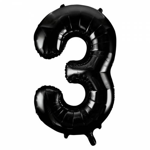 Ballon Géant Chiffre 3 Noir (86 cm)