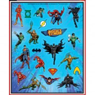 4 Planches de stickers Justice League