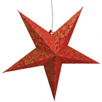 Etoile Papier Rouge et Or pour Lampe (60 cm)
