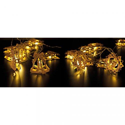 Guirlande Lumineuse Cloches de Noël à LED - Bois
