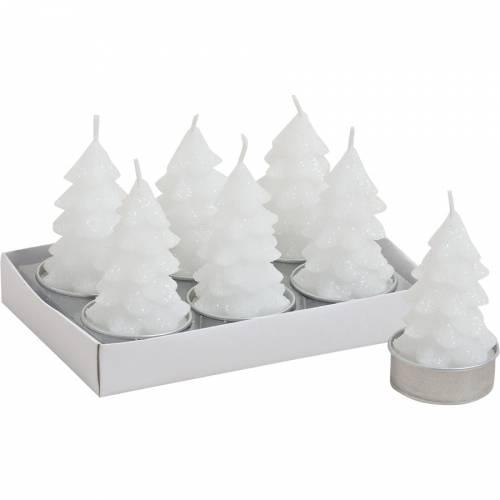 6 Bougies Chauffes-plat Sapins Blancs Glitter (4 x 6 cm)