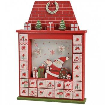 Calendrier de l Avent Père Noël Maison (41 cm) - Bois