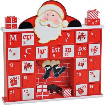 Calendrier de l Avent Père Noël Cheminée (31 cm) - Bois