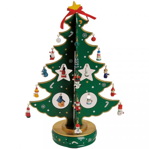 Grand Sapin de Table Musical Vert (37 cm) - Bois