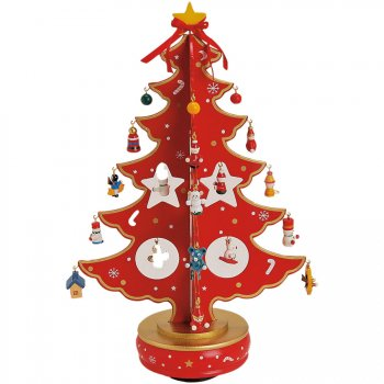 Grand Sapin de Table Musical Rouge (37 cm) - Bois