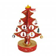 Sapin de Table Musical Rouge (29 cm) - Bois
