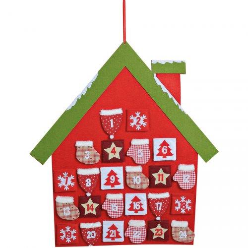 Calendrier de l Avent Maison Rouge (70 cm) - Feutrine et tissu