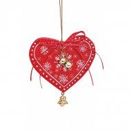 Suspension Coeur de Noël Clochette 59 cm) - Bois
