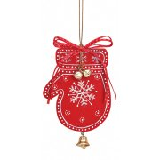 Suspension Gant de Noël Clochette (10 cm) - Bois