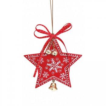 Suspension Etoile de Noël Clochette (10 cm) - Bois