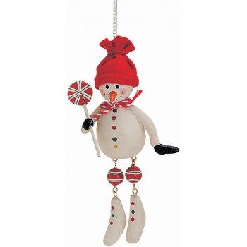 Pantin Bonhomme de Neige à Ressort (11 cm) - Bois