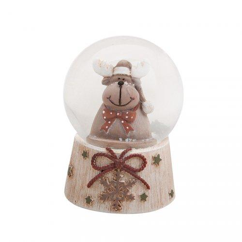 Boule à Neige Flocon et Renne (6 x 4,5 cm)