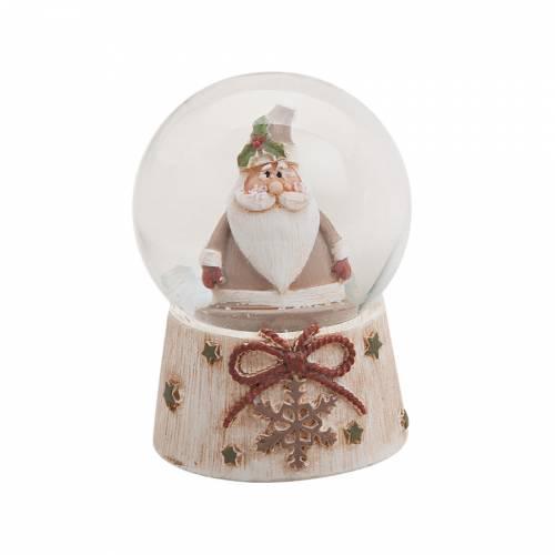 Boule à Neige Flocon et Père Noël (6 x 4,5 cm)