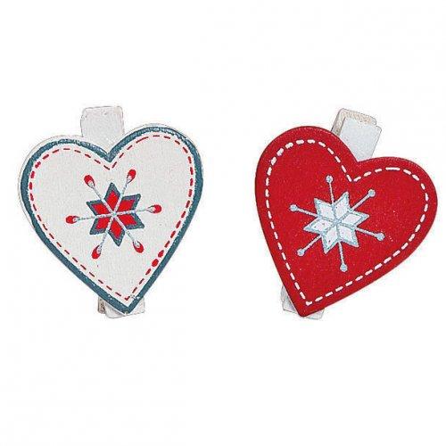 12 Petites Pinces Coeurs Noël (3 cm) - Bois