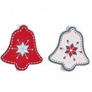12 Petites Pinces Cloches de Noël (3,5 cm) - Bois