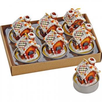 6 Bougies Chauffes-Plat Maison Pain d Épices (4 x 4 cm)