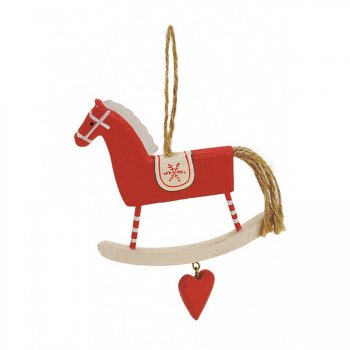 Grande Suspension Cheval Bascule Rouge Grenat (12 cm) - Bois