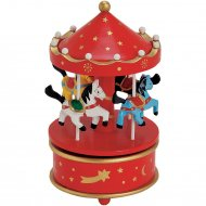 Carrousel Musical Rouge (20 x 11 cm) - Bois