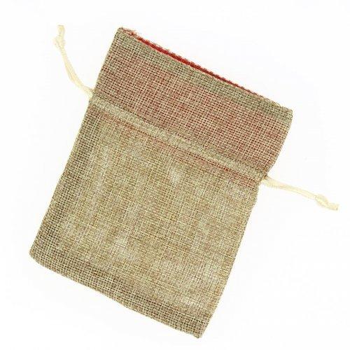 1 Sachet Tissu Beige Brut / Vichy Rouge