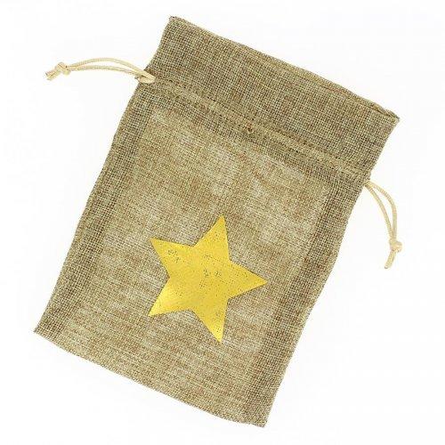 1 Sachet Tissu Etoile Or - Beige brut