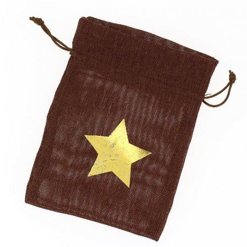 1 Sachet Tissu Etoile Or - Marron