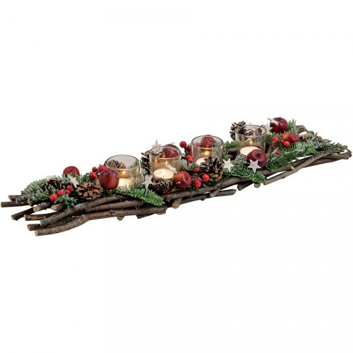 Décor de L Avent Rectangulaire Pommes Rouges (60 cm)